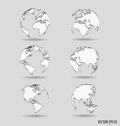 Set of Modern globe drawing concept vector image