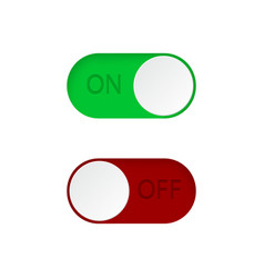 set on and off toggle switch buttonsgreen and vector image