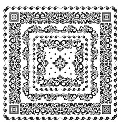 square frame set template bandana with vintage vector image