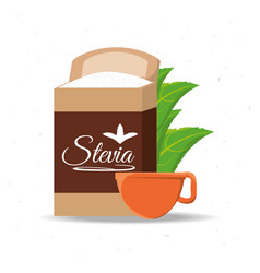stevia natural sweetener packet and leaves vector image