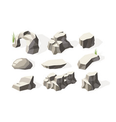 Stones isometric broken architecture rocks vector
