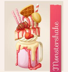 strawberry monstershake dessert cartoon style vector image