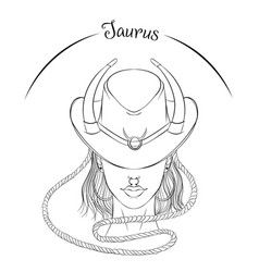 Taurus as a girl in hat vector