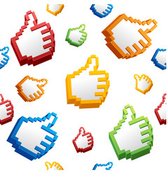 Thumbs up sign computer cursor pattern background vector