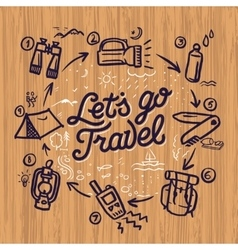 Travel and adventure theme doodle elements vector