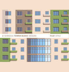 Two seamless tower-block designs flat style vector