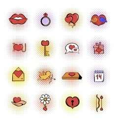 valentines comics icons set vector image