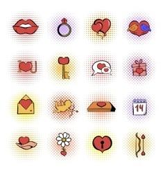 Valentines comics icons set vector image