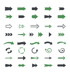 varieties arrows set variety black green vector image