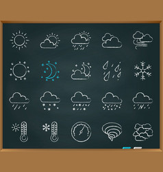weather chalk draw line icons set vector image