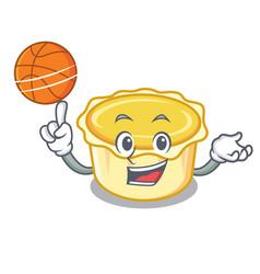 With basketball egg tart character cartoon vector