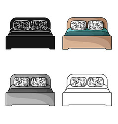 wooden double bed icon in cartoon style isolated vector image
