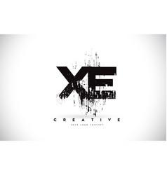 Xe x e grunge brush letter logo design in black vector