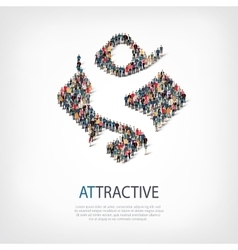 attractive people sign 3d vector image