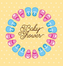 baby shower boy and girl shoes decoration card vector image