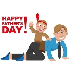 Father playing with his son in the Indians vector image