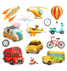 Funny cartoon transportation cars and airplanes vector image