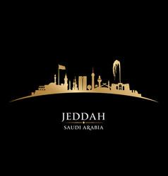 jeddah saudi arabia city skyline silhouette black vector image vector image