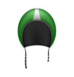 retro motorcycle helmet in dark green design vector image vector image