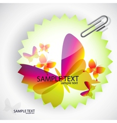 round sticker with butterflies vector image