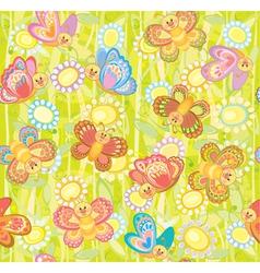 seamless cute pattern of butterflies vector image