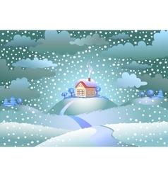 Snowfall over the small house vector