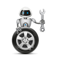 The robot with a car wheel and a spanner vector image