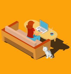 Woman working on laptop at desk isometric vector