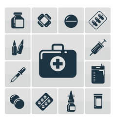 first aid kit silhouette icons set vector image vector image