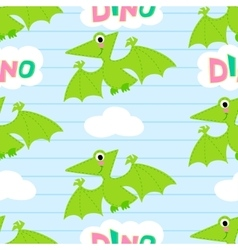 Flying dinosaur seamless pattern vector image
