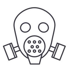 gas mask respirator line icon sig vector image