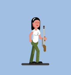 Hunter girl with a gun vector