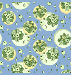 pattern with green stylized flowers and vector image