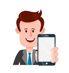 young businessman person holding smartphone vector image