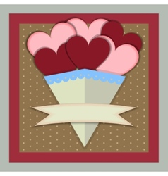 Abstract paper bouquet of hearts with banner vector