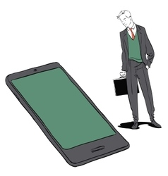 Businessman and smartphone vector image