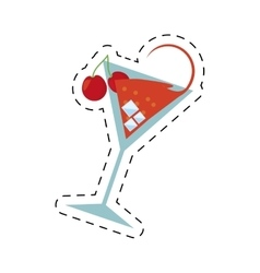 Cocktail cherry alcohol ice straw dot line vector