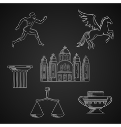 Greece culture and art chalk icons vector image vector image