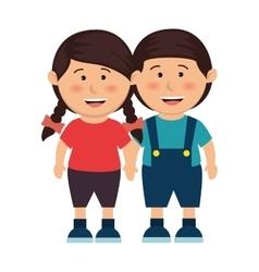 cute kids couple icon vector image