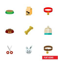 flat icon pets set of rabbit meal nutrition box vector image vector image