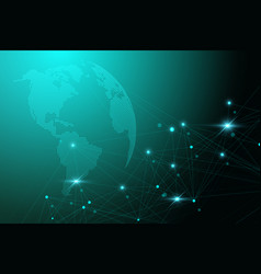 global network with world map abstract vector image vector image