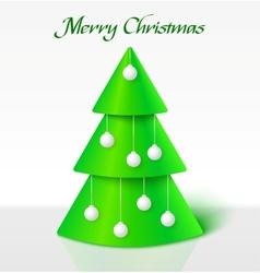 Green christmas tree with balls vector image