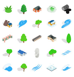 Urban landscape icons set isometric style vector
