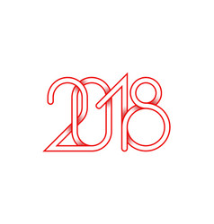 2018 red plexus of numbers for happy new year vector