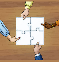 4 persons hands holding puzzle pieces team work vector image