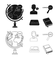 A translator in headphones a magnifying glass vector