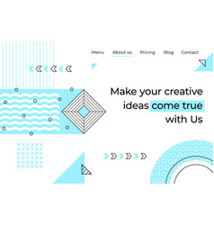 abstract landing page minimal geometry memphis vector image