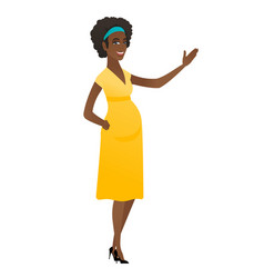 African pregnant woman showing a direction vector