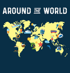 around the world flat poster vector image