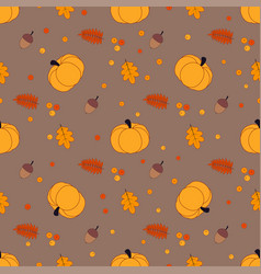 autumn pattern with pumpkin vector image